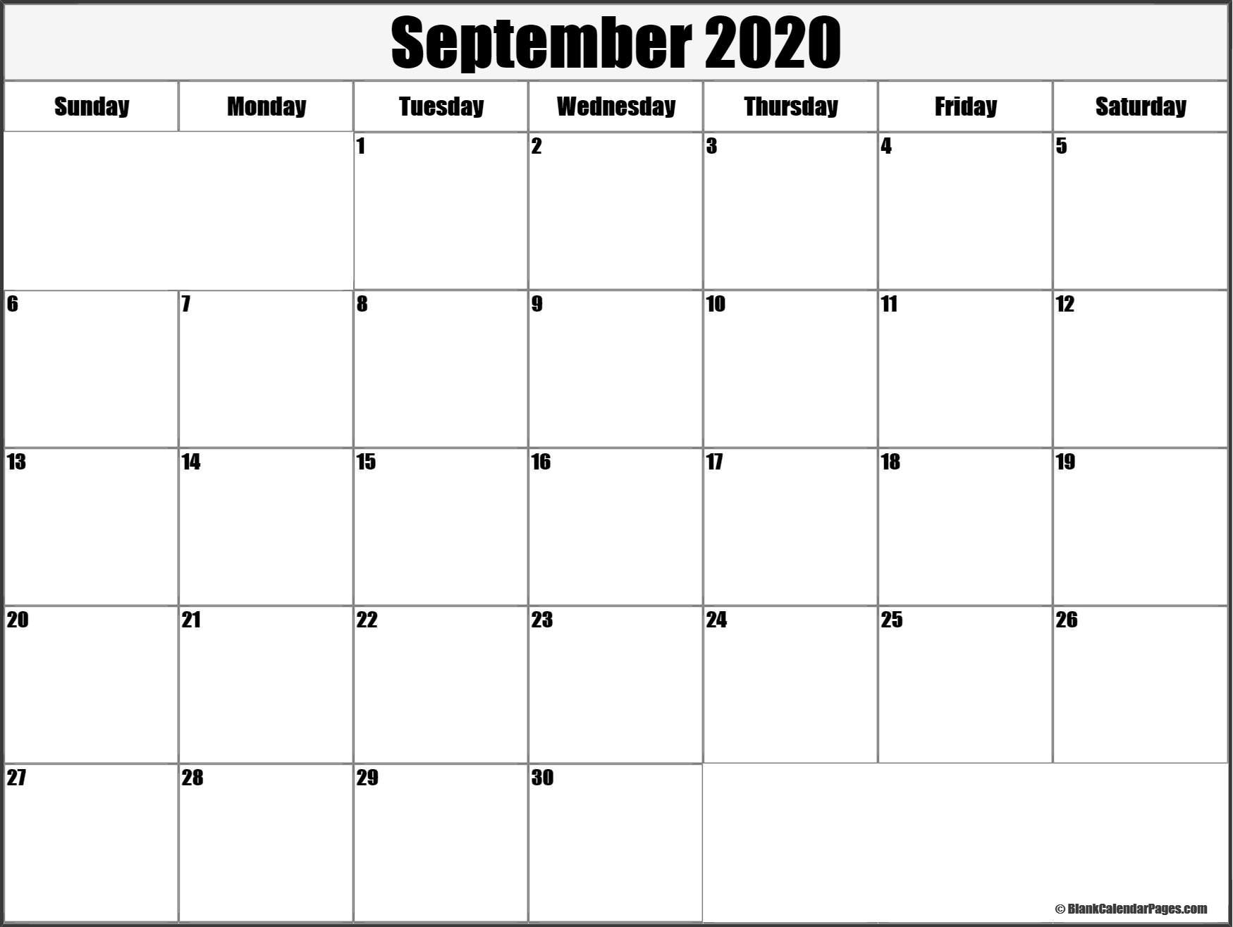 September 2020 Blank Calendar Templates.