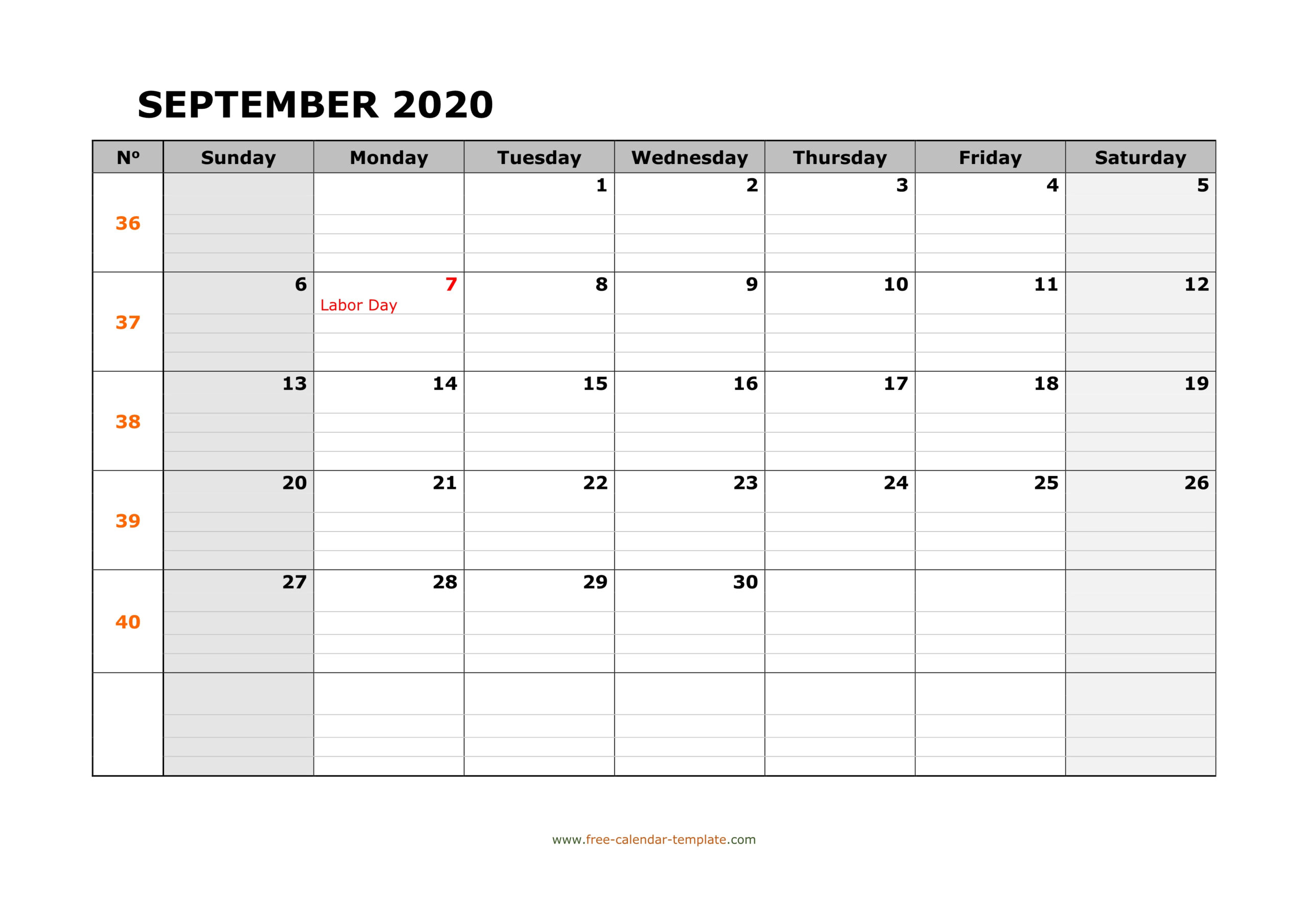 September 2020 Calendar Free Printable With Grid Lines