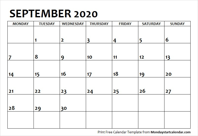 September 2020 Calendar Monday Start | September Month