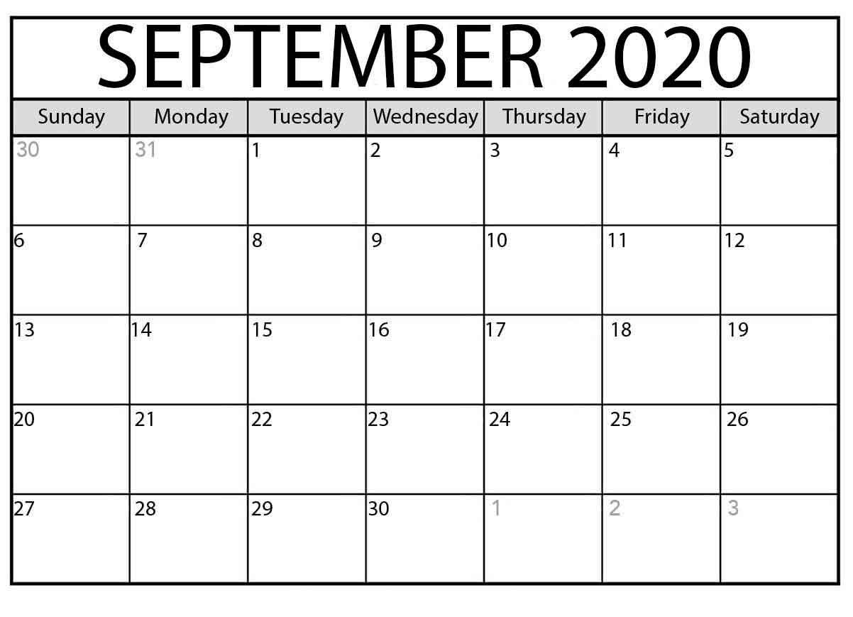 September 2020 Calendar Printable - Free Printable Monthly