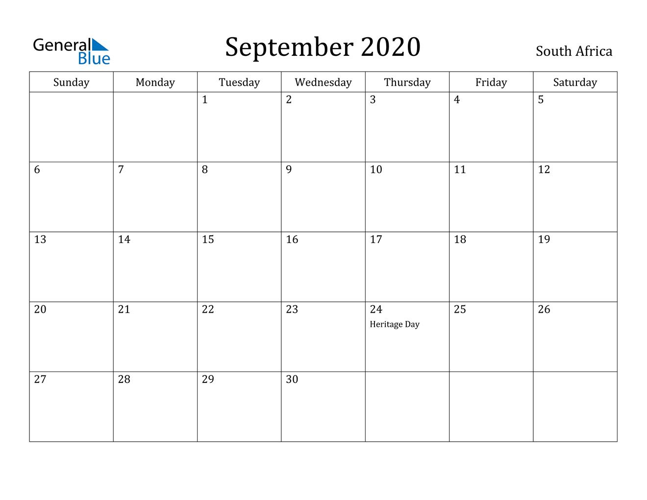 September 2020 Calendar - South Africa