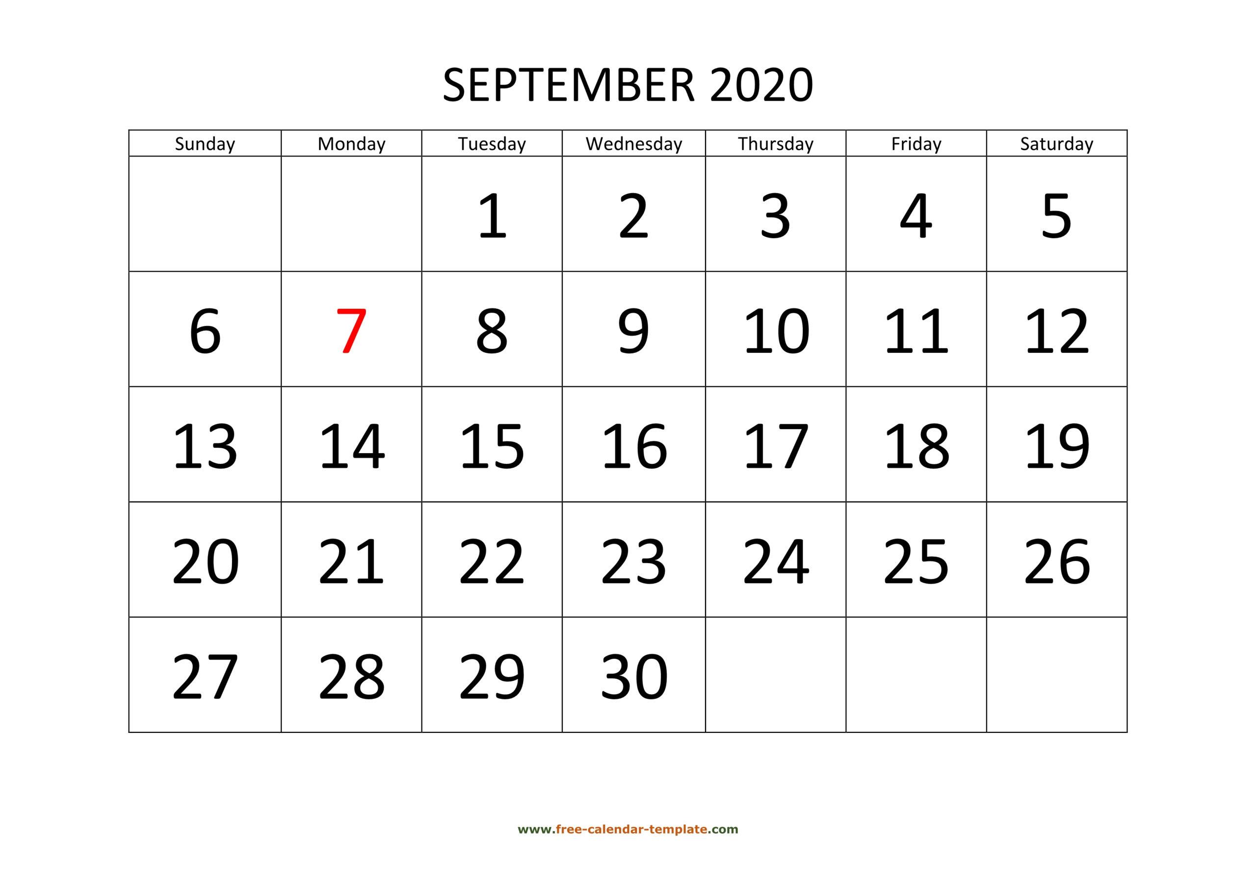 September 2020 Free Calendar Tempplate   Free-Calendar