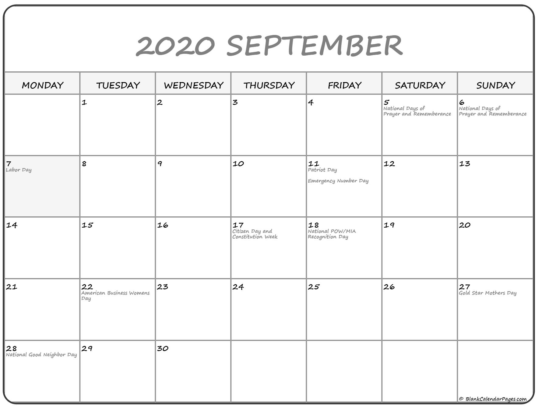 September 2020 Monday Calendar | Monday To Sunday