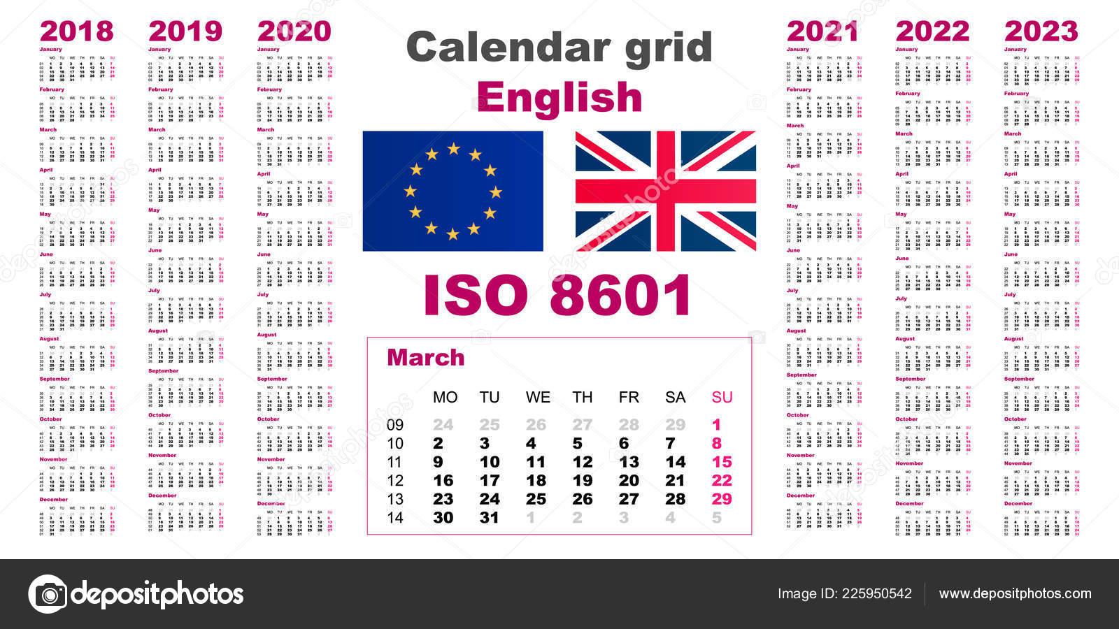 Set Grid Wall Calendar English For 2018, 2019, 2020, 2021