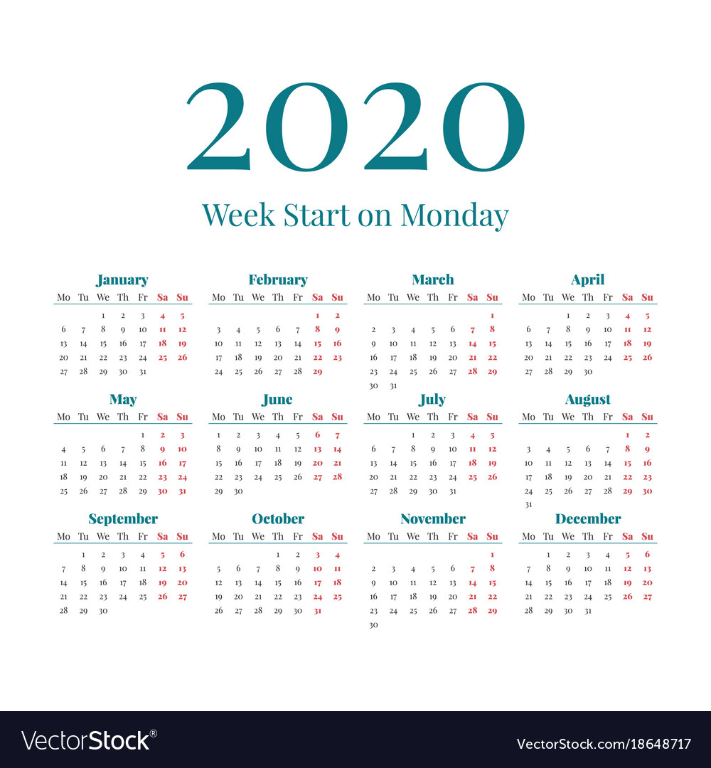 Simple 2020 Year Calendar Royalty Free Vector Image