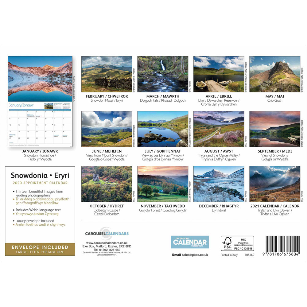Snowdonia 2020 A4 Wall Calendar | Stationery Sale At The Works