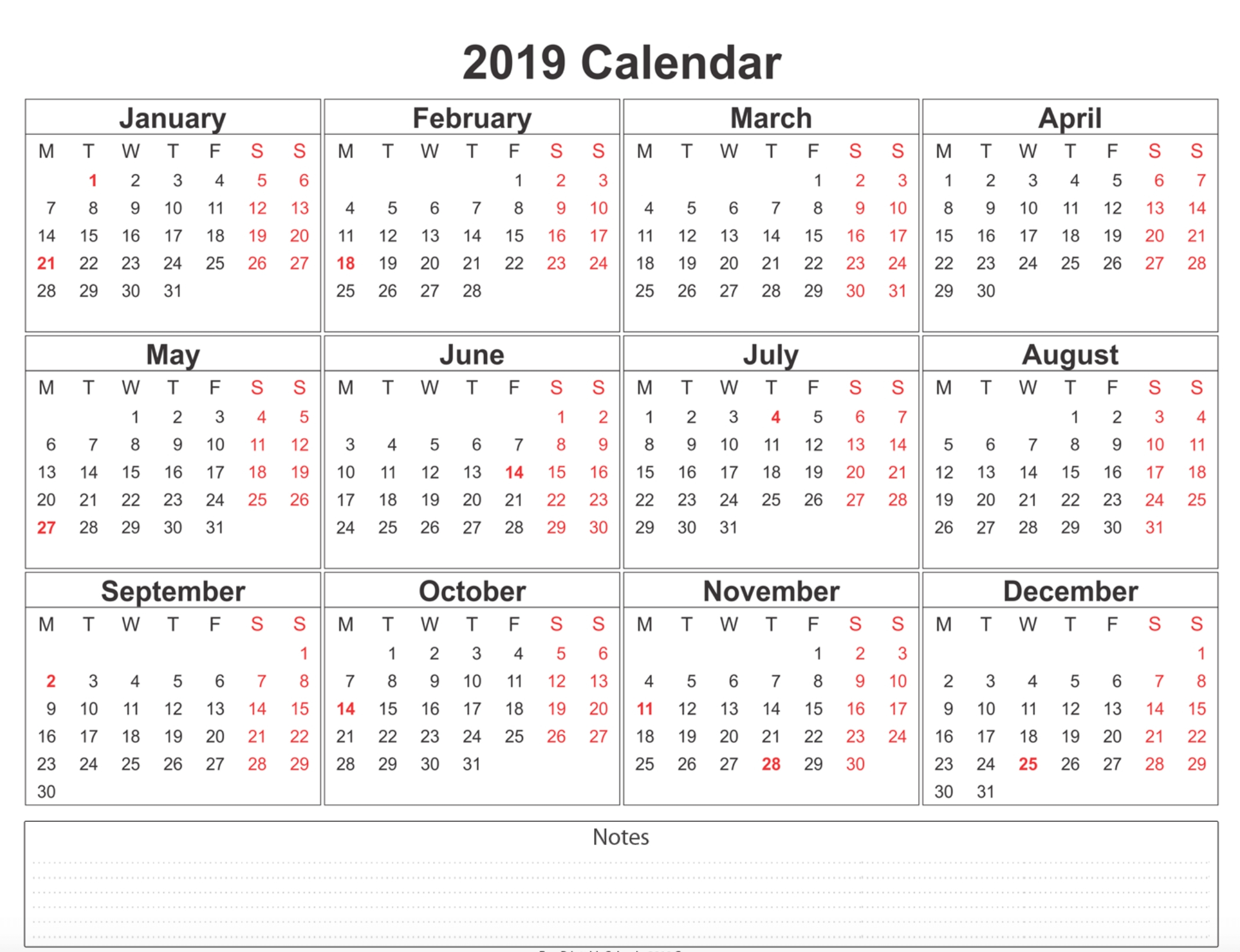 Take Blank Monthly 5 Day Calendar 2019 Printable ⋆ The