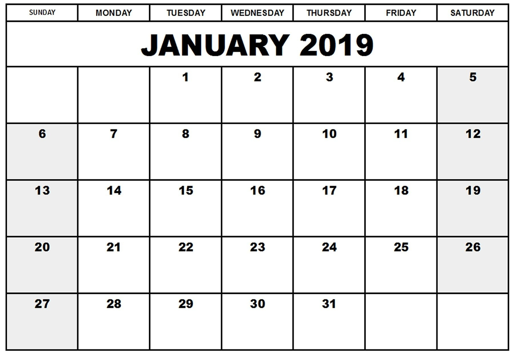 Take Blank Printable 2019 Legal Size Calendar ⋆ The Best