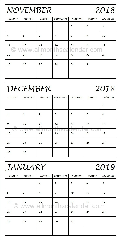 Take Calendar November December 2019 January 2019 ⋆ The