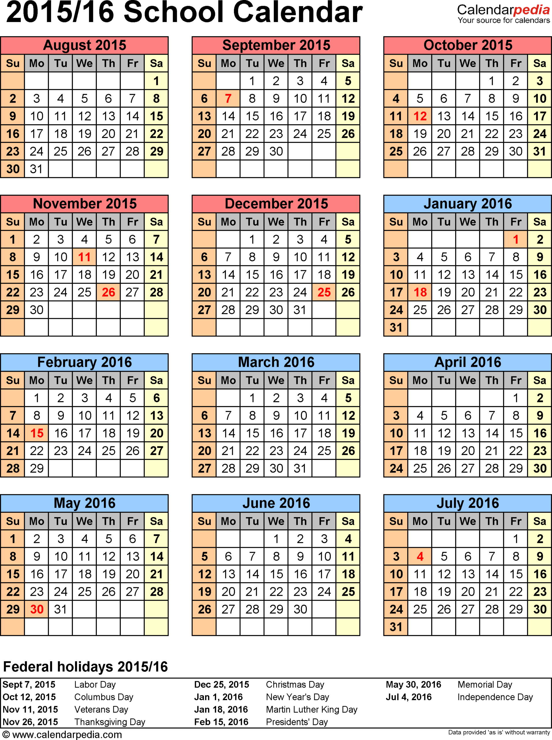 Template 6: School Calendar 2015/16 For Word, Portrait