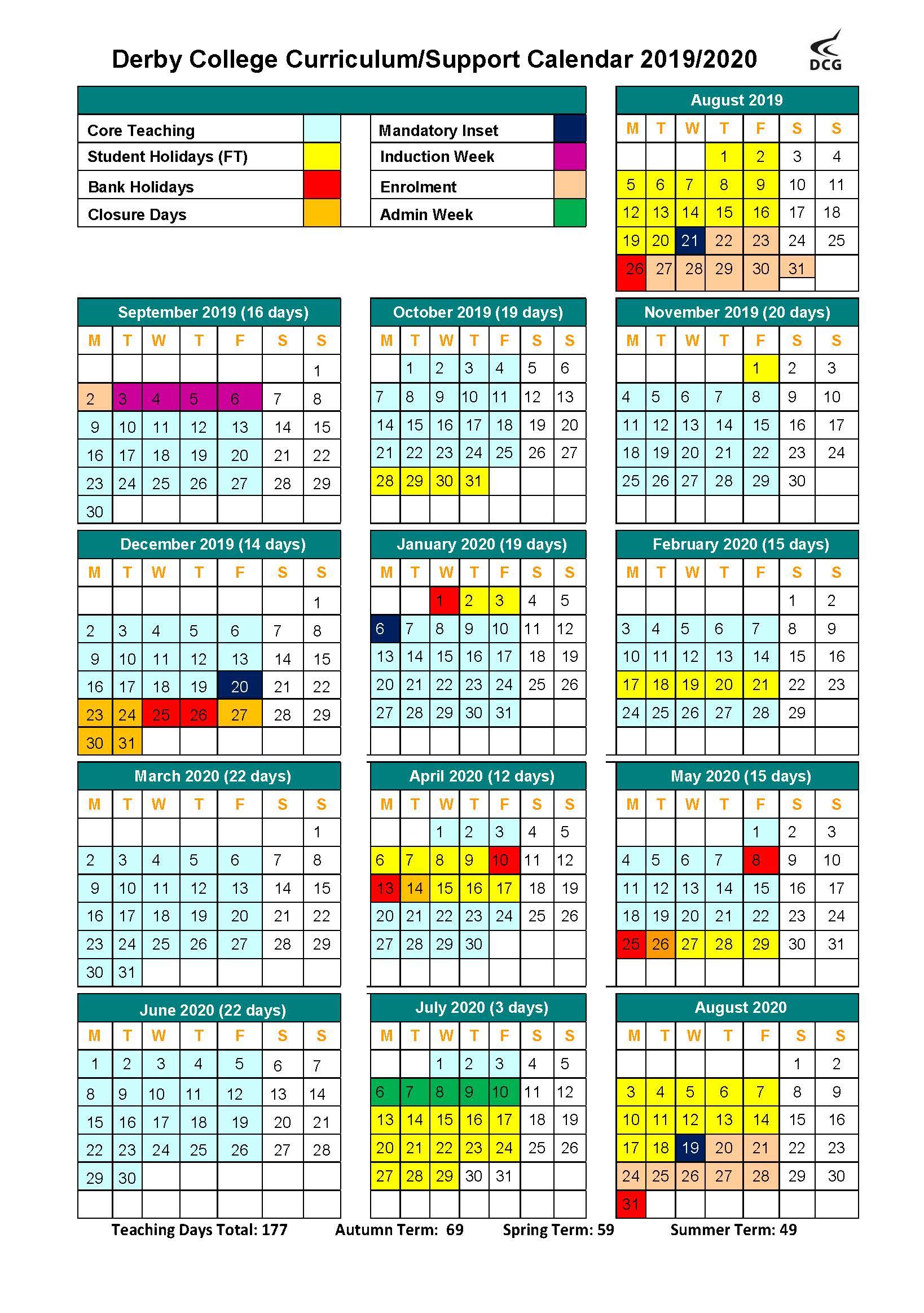 Term Dates / Calendar - Derby College