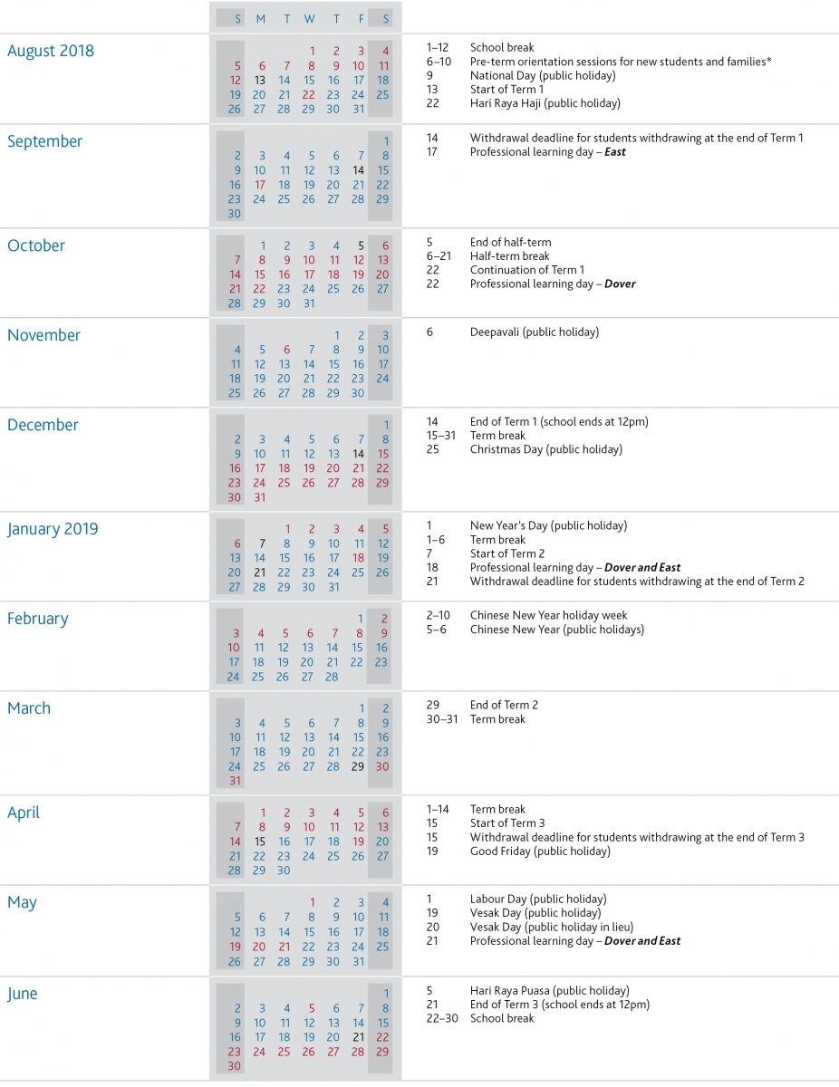 Term Dates | Uwcsea | International School In Singapore