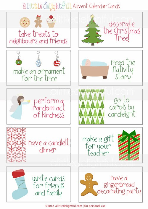The Bean Sprout Notes: Top 10 Free Advent Activity Card
