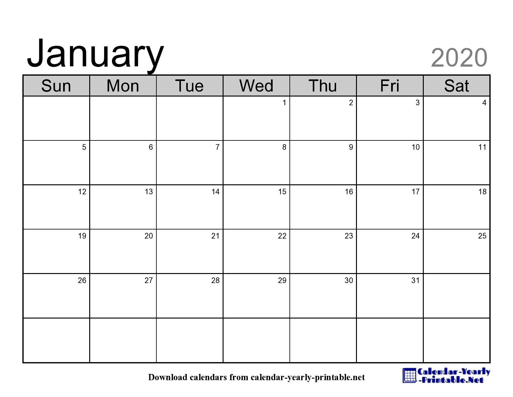 The Newest Free Version Of January 2020 Calendar