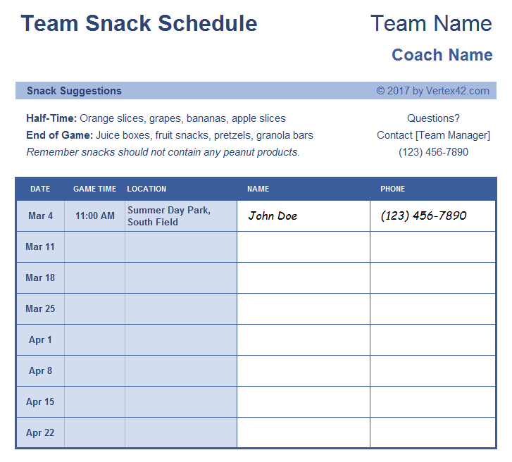 This Free Team Snack Schedule Sign Up Form Is Designed For