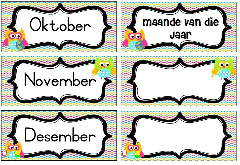 Uil Dekor – Dae Van Die Week En Maande Van Die Jaar – Teacha!