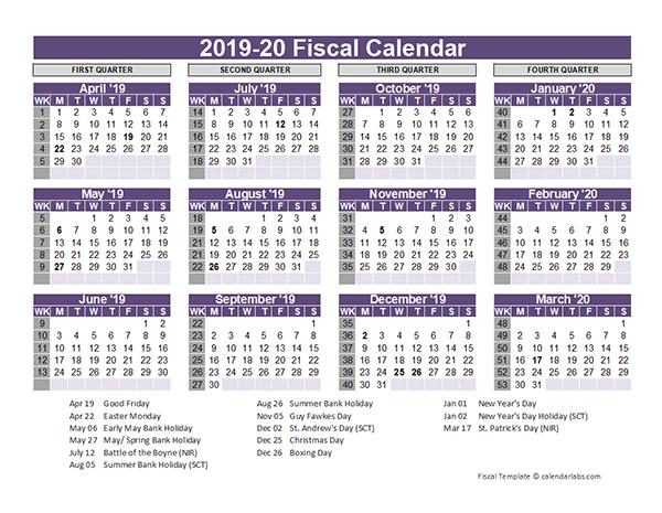 Uk Fiscal Calendar Template 2019-20 - Free Printable Templates
