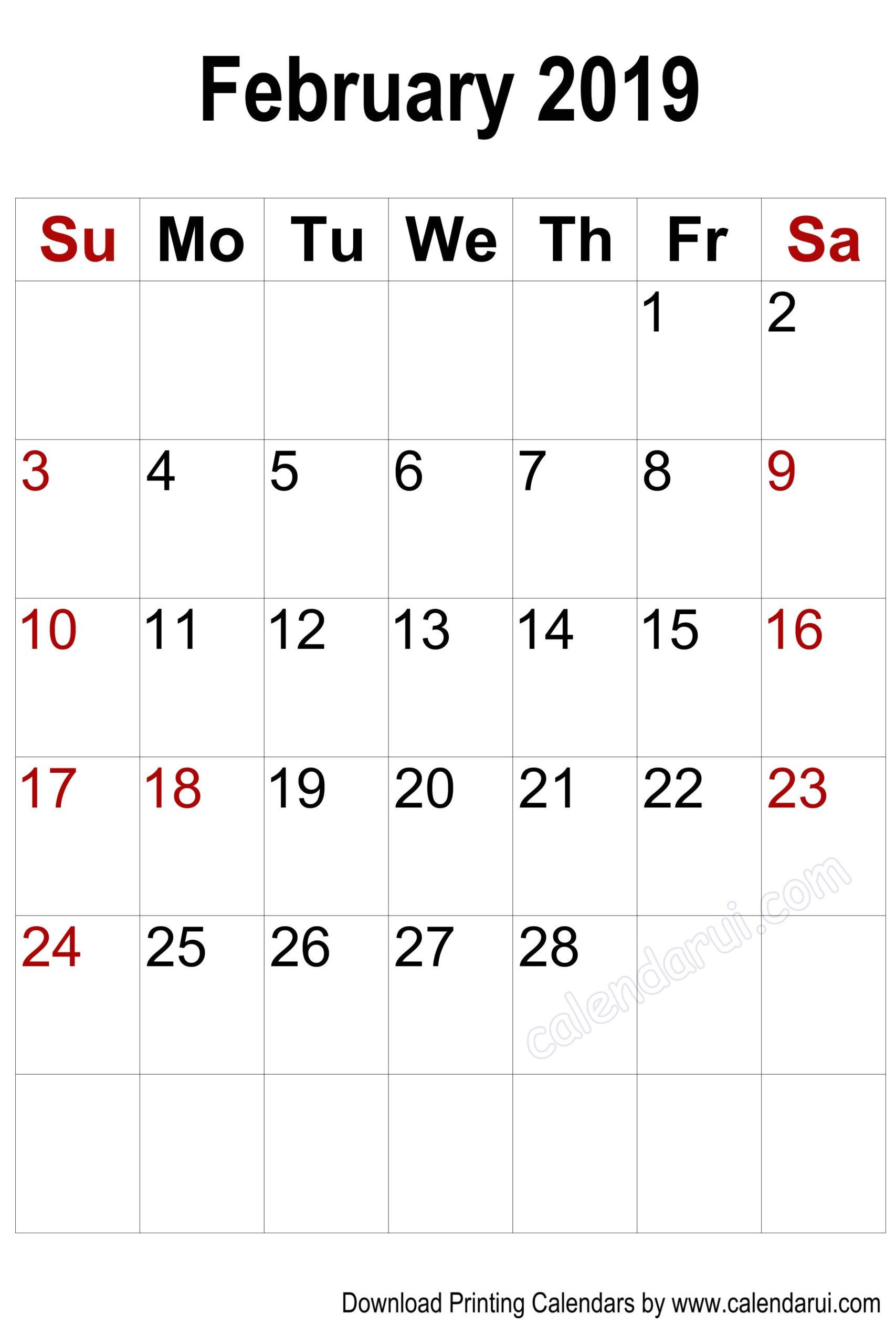 Vertical Blank February 2019 Calendar Printable | 2019