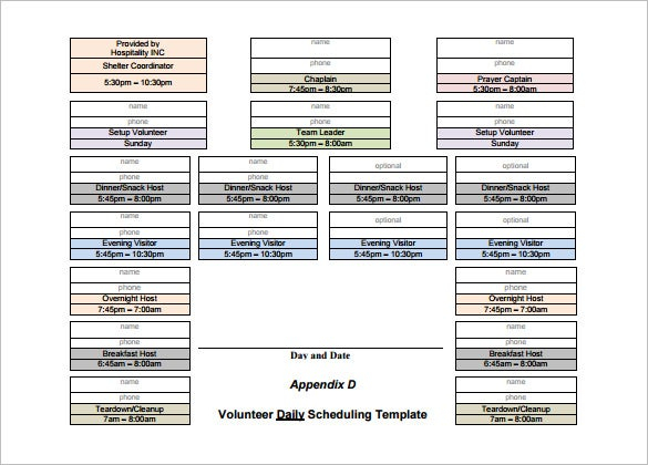 Volunteer Schedule Template - 11+ Free Word, Excel, Pdf