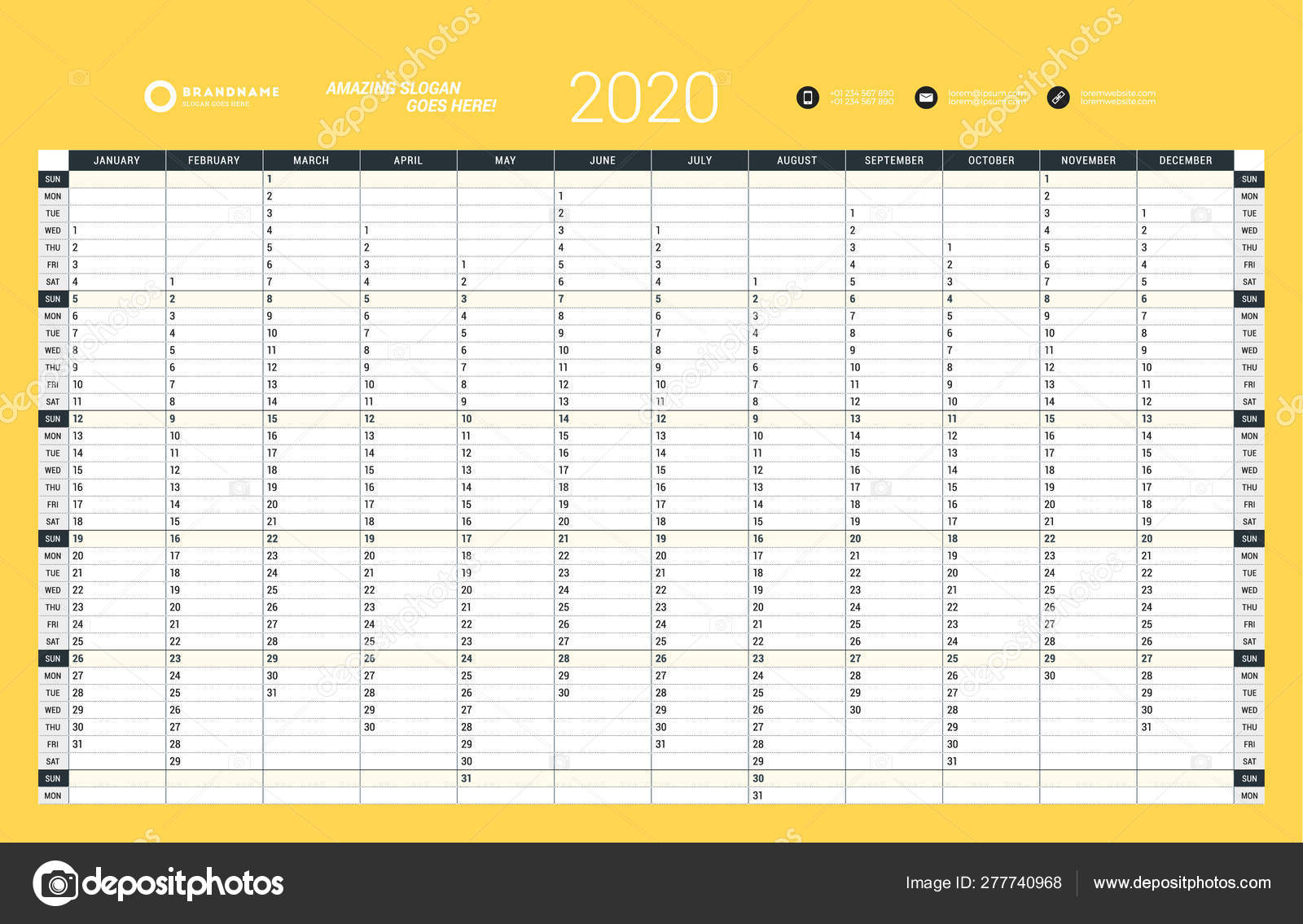 Wall Calendar Yearly Planner Template For 2020. Vector