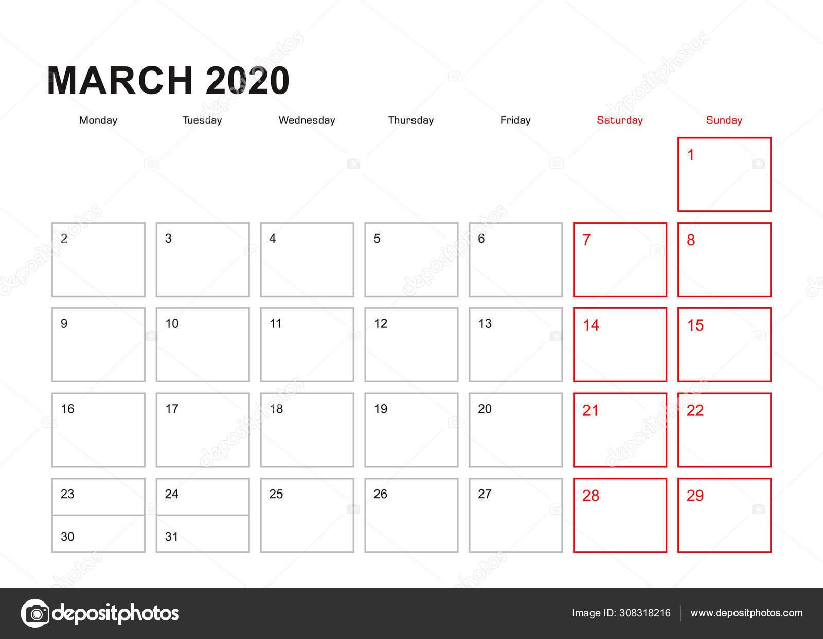 Wall Planner For March 2020 In English Language, Week