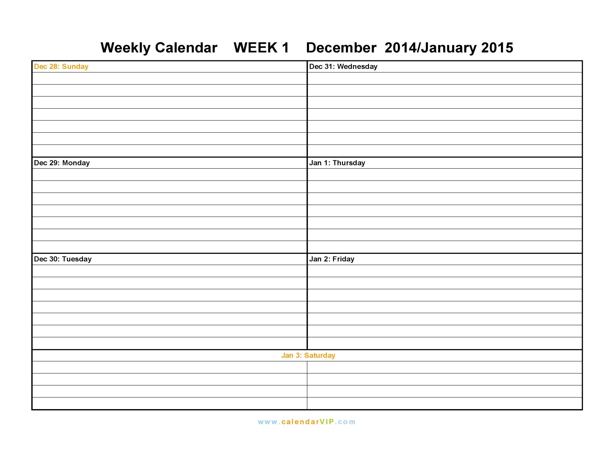 Weekly Calendar 2015 - Free Weekly Calendar Templates