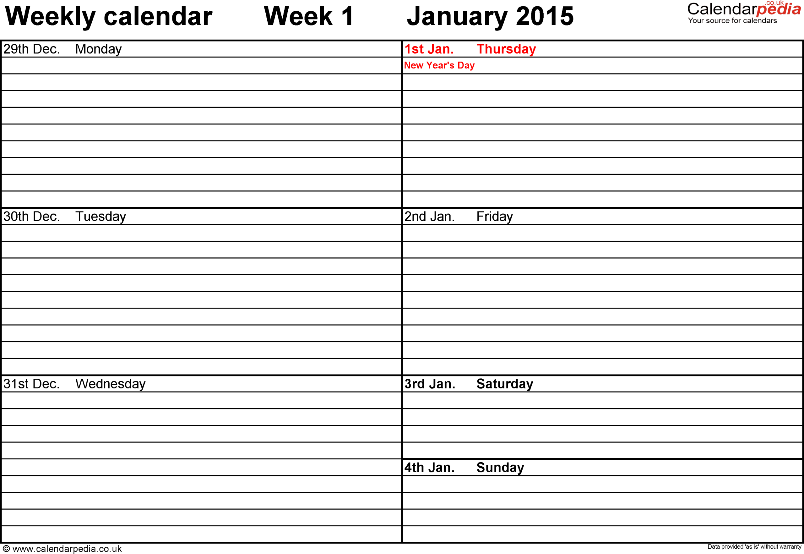 Weekly Calendar 2015 Uk - Free Printable Templates For Excel