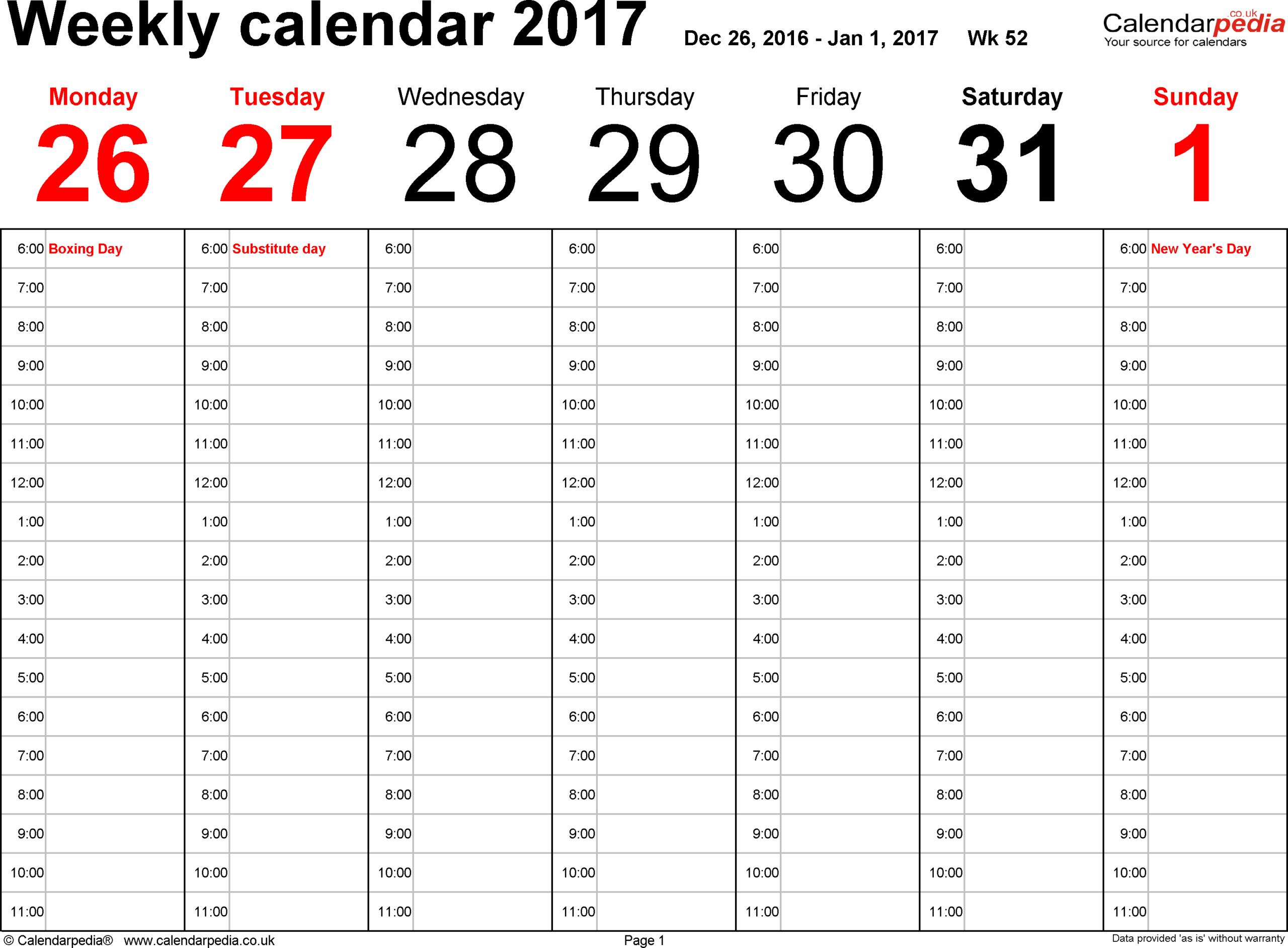 Weekly Calendar 2017 Uk - Free Printable Templates For Pdf