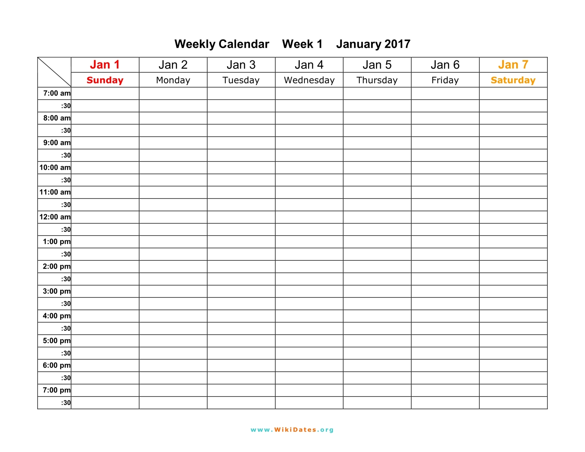 Weekly Calendar - Download Weekly Calendar 2017 And 2018