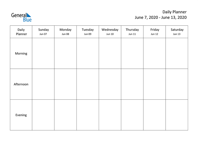 Weekly Calendar - June 7, 2020 To June 13, 2020 - (Pdf