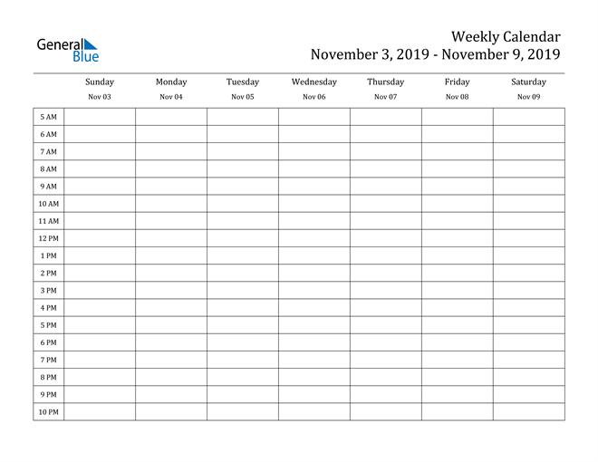 Weekly Calendar - November 3, 2019 To November 9, 2019
