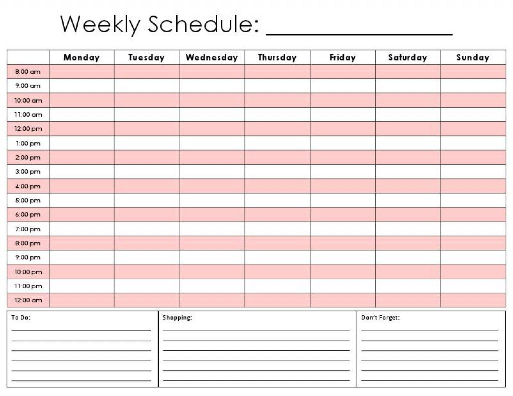 Weekly Calendarhour – Calendar Printable Week