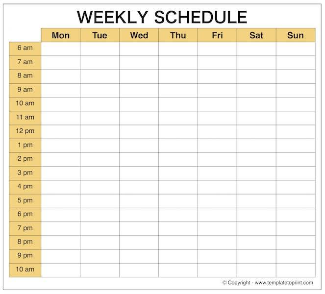 Weekly Schedule Maker – Task List Templates