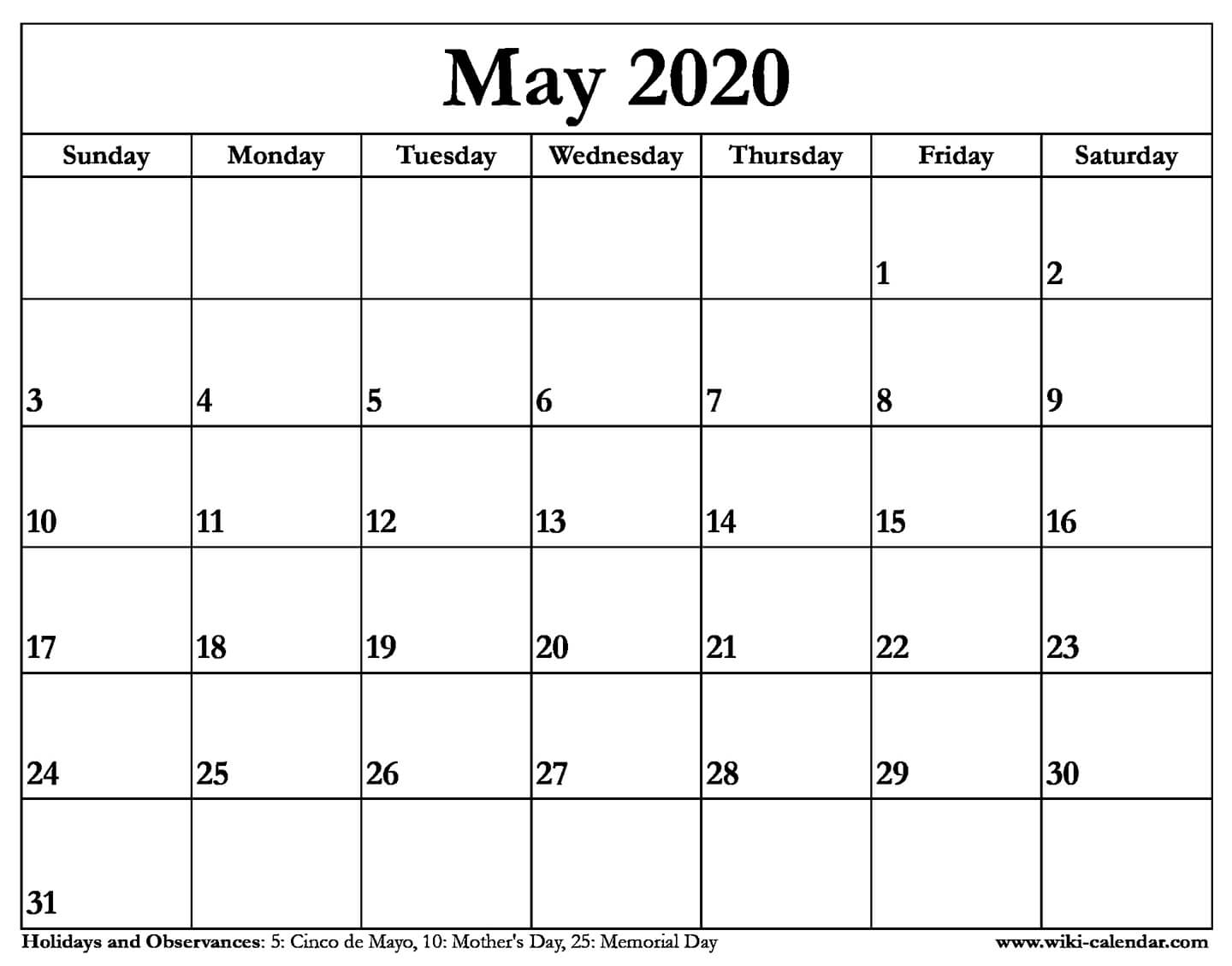 Wiki-Calendar – Download And Print Calendars For 2020