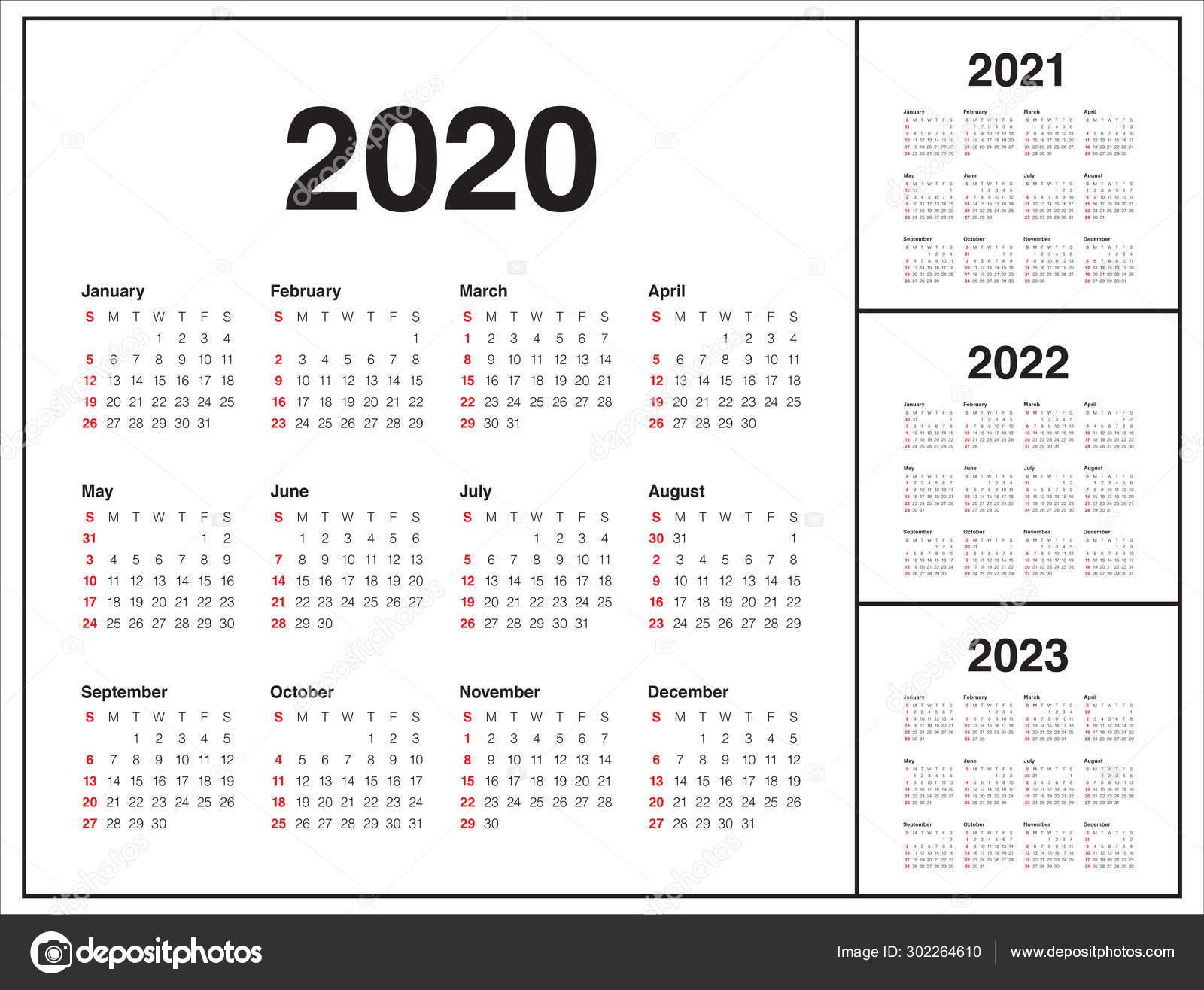Year 2020 2021 2022 2023 Calendar Vector Design Template