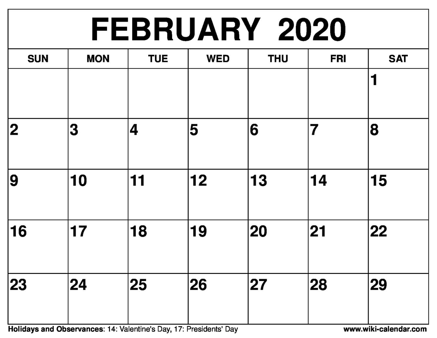 Year 2020 Calendar – United States | Month Calendar Printable