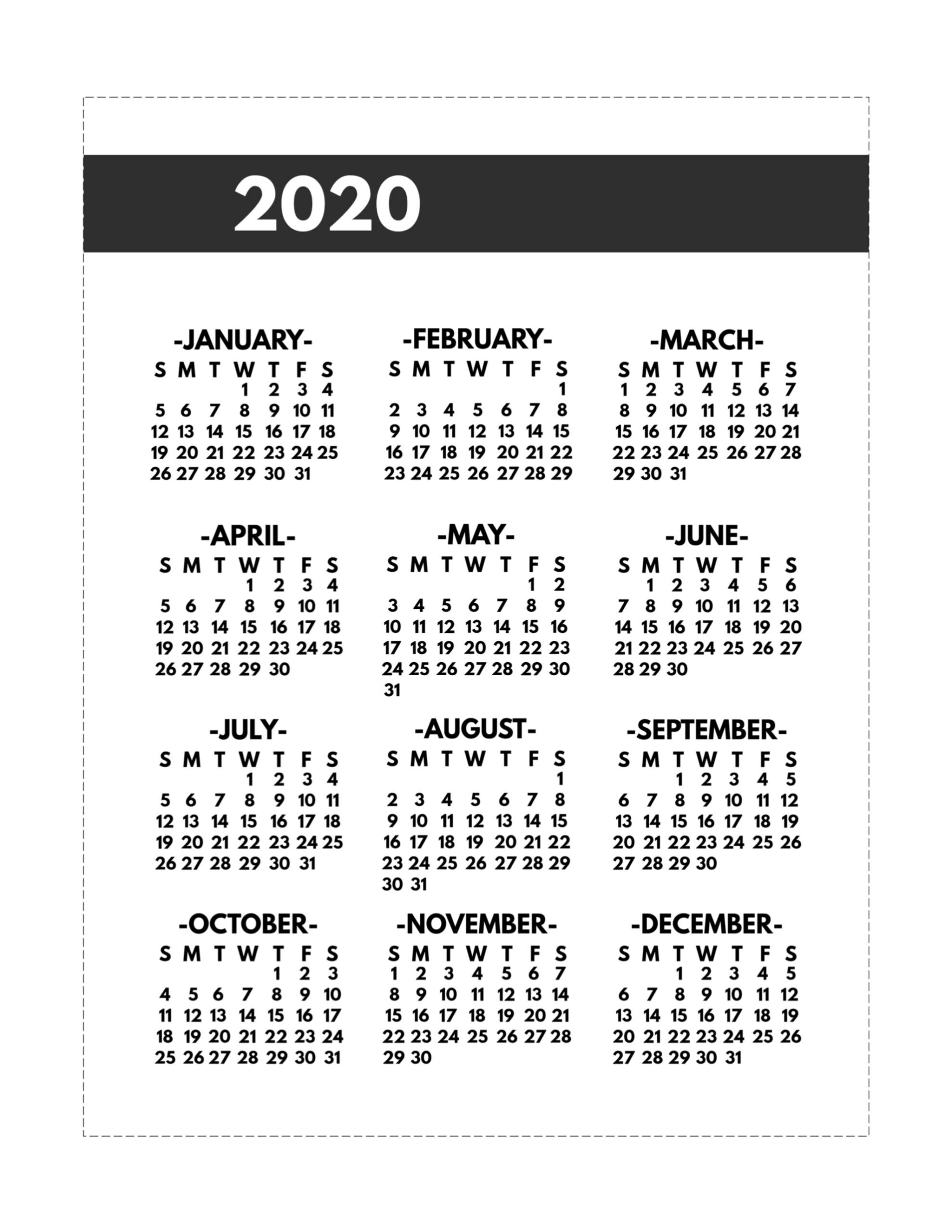 Year At A Glance 2020 Free Printable - Calendar
