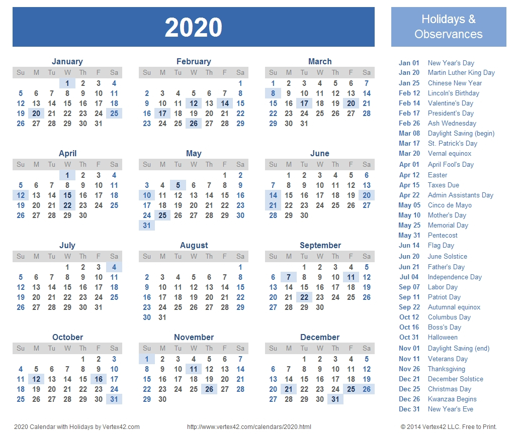 Year At A Glance Calendar 2020 With Holiday Free Printable