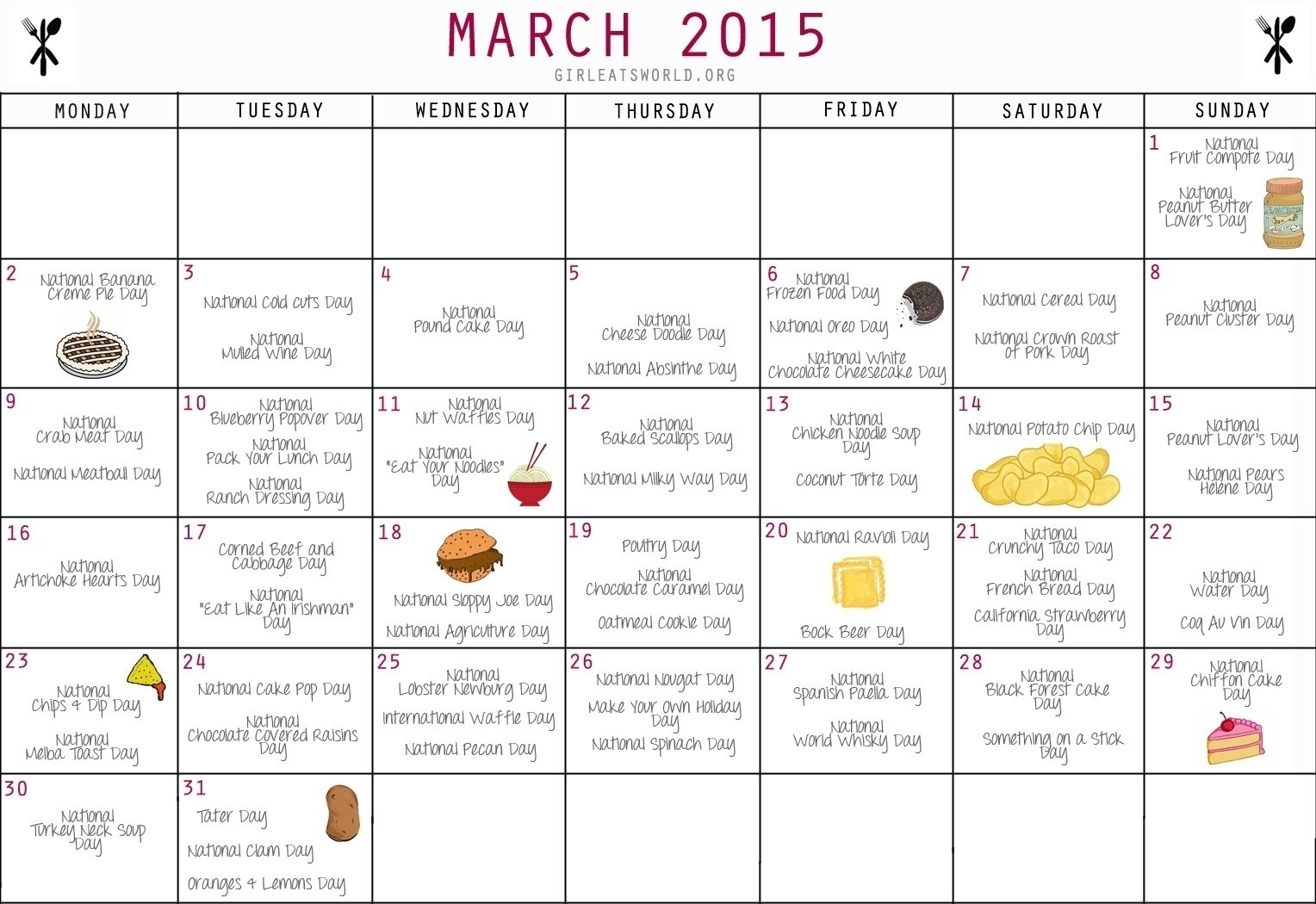 Year Calendar Of National Days | Ten Free Printable