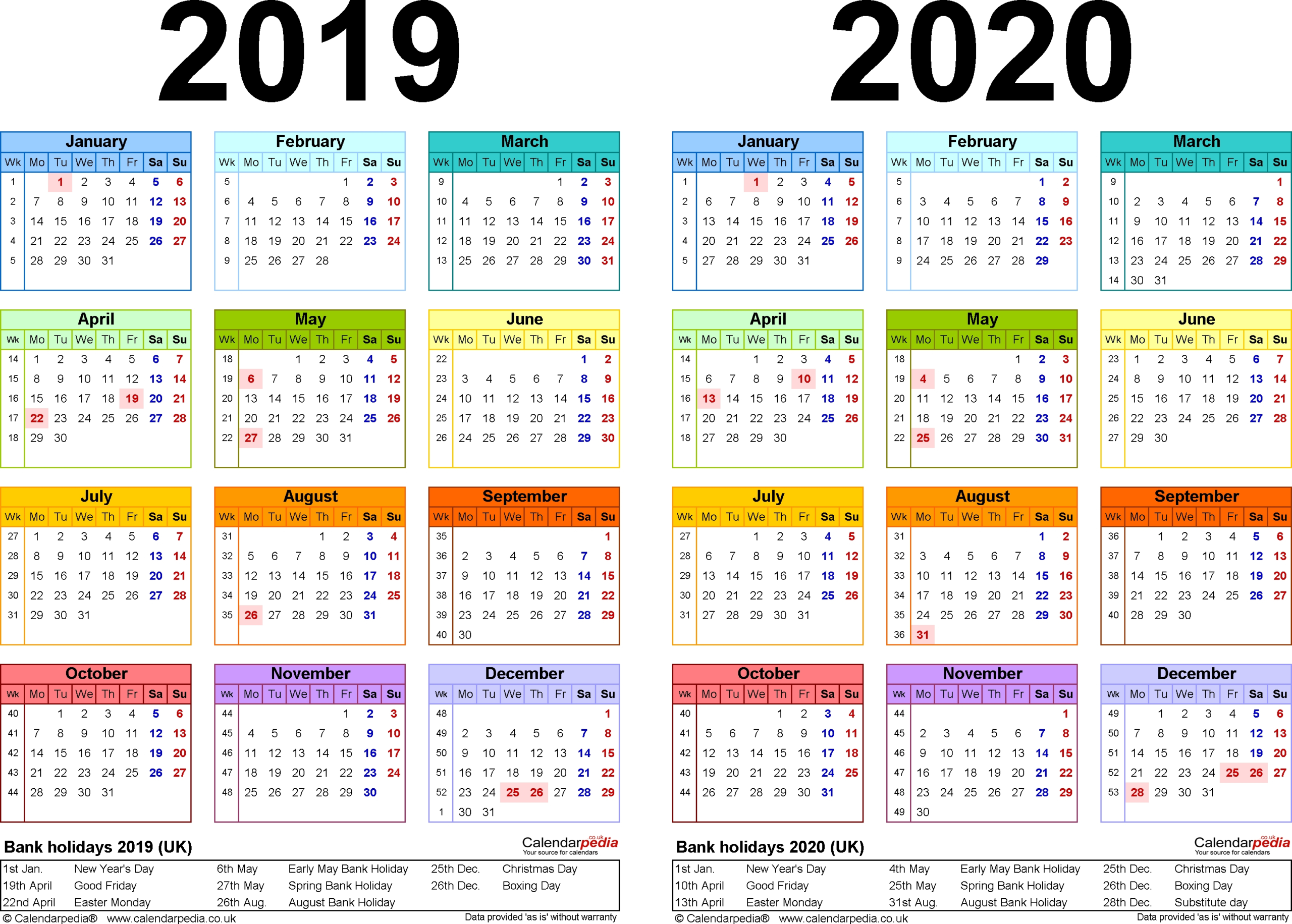 Year Calendar South Africa 2020 | Month Calendar Printable