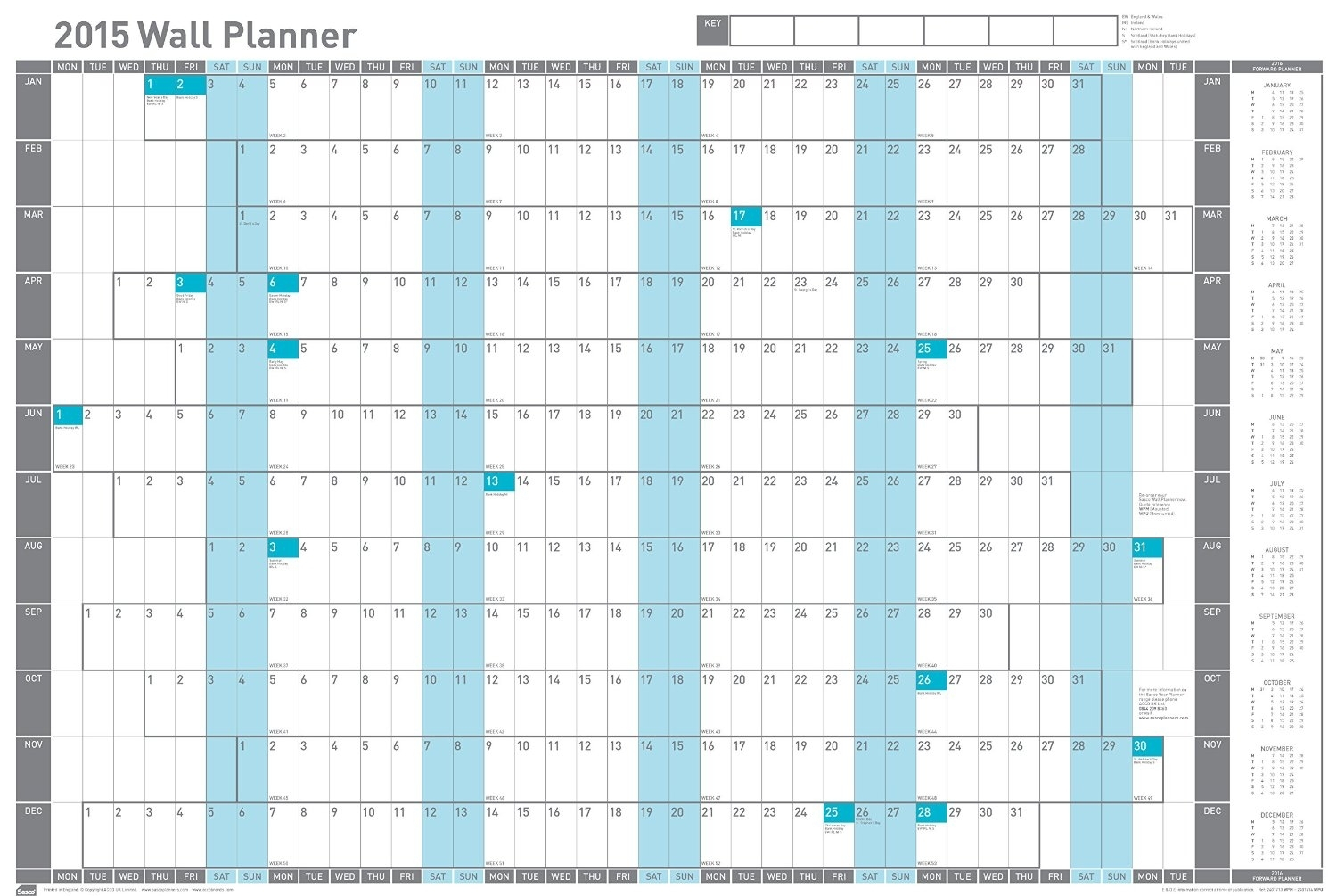 Year Calendar Wall Chart | Ten Free Printable Calendar