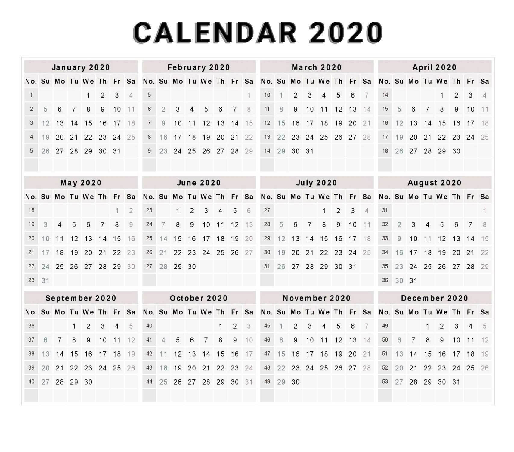 Year Calendar Week Numbers 2020 | Calendar Printables Free