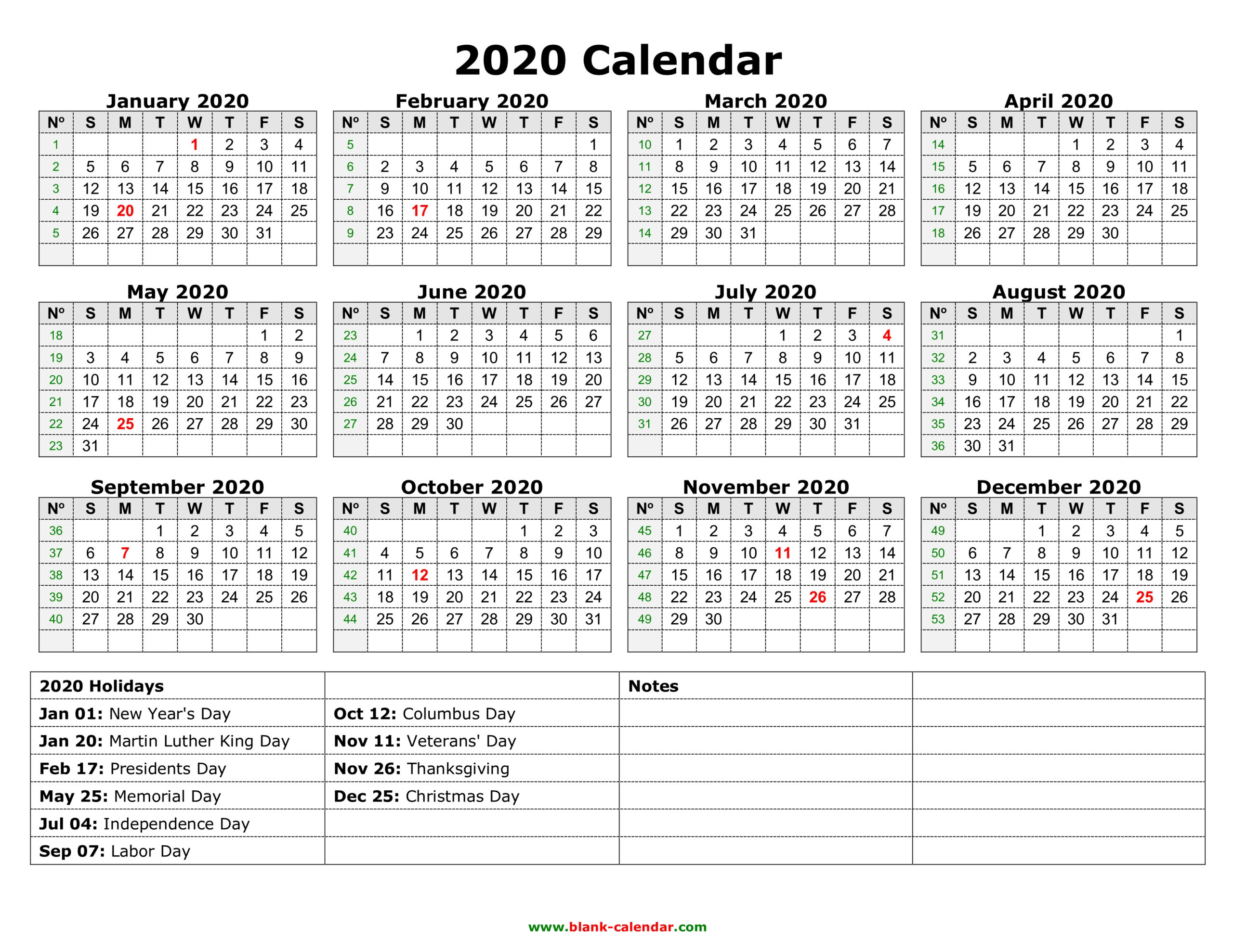 Yearly Calendar 2020 | Free Download And Print