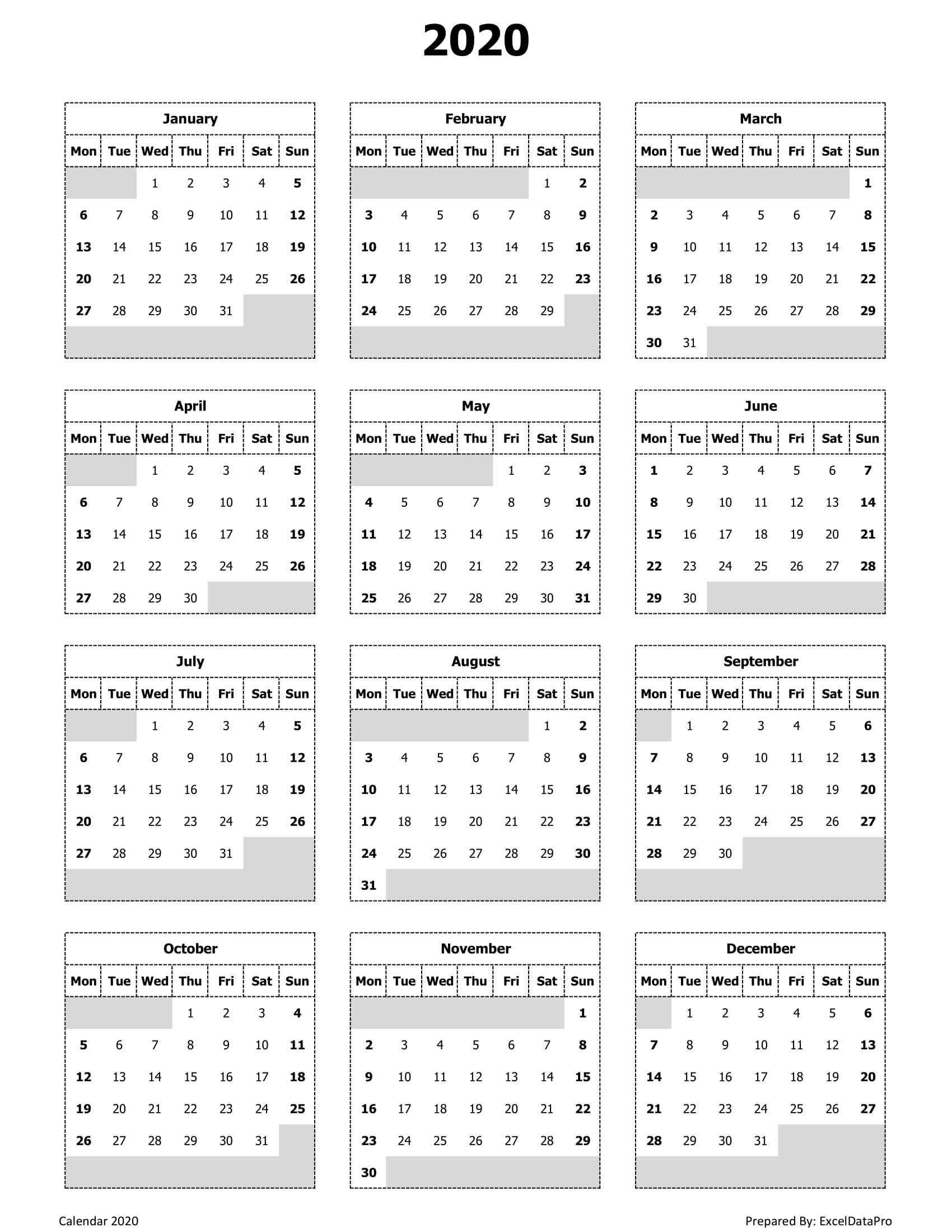 Yearly Calendar Printable 2020 Start On Monday | Calendar
