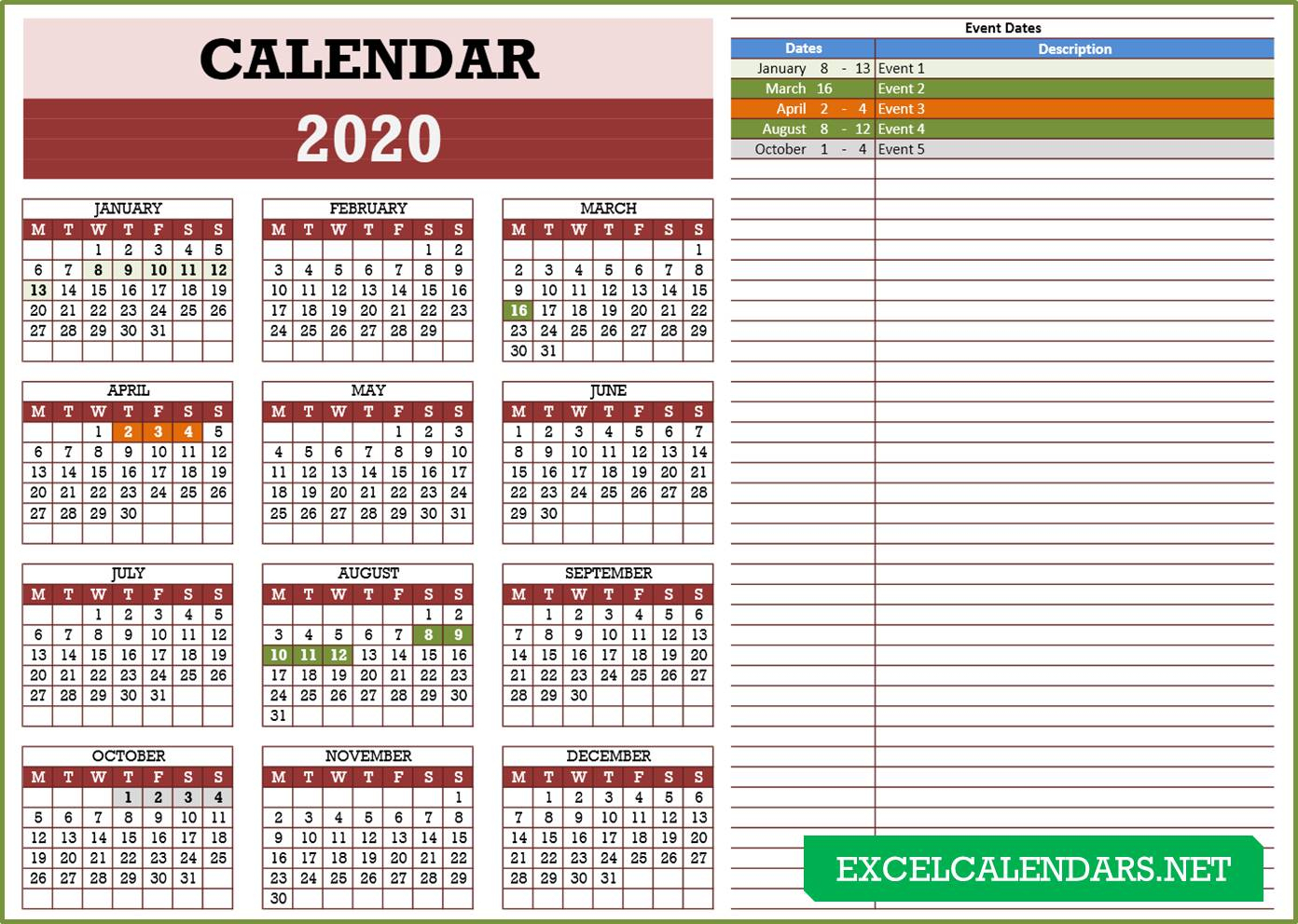 Yearly Calendar Templates For Year 2019 | 2020 | 2021