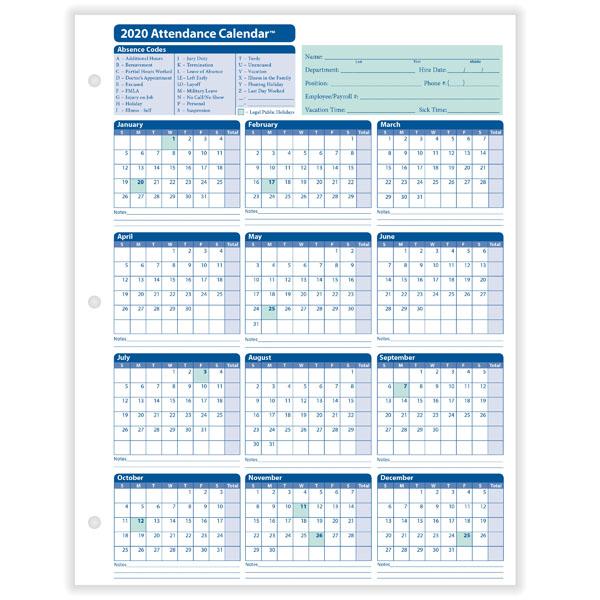 Yearly Employee Attendance Calendar | Yearly Calendar