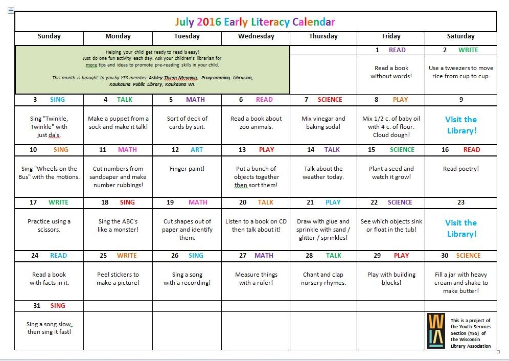 Youth Services Shout-Out: Yss Blog: May-June-July Literacy