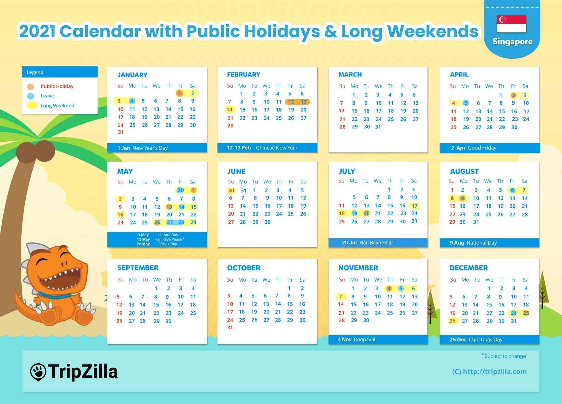 10 Long Weekends In Singapore In 2021 (Bonus Calendar
