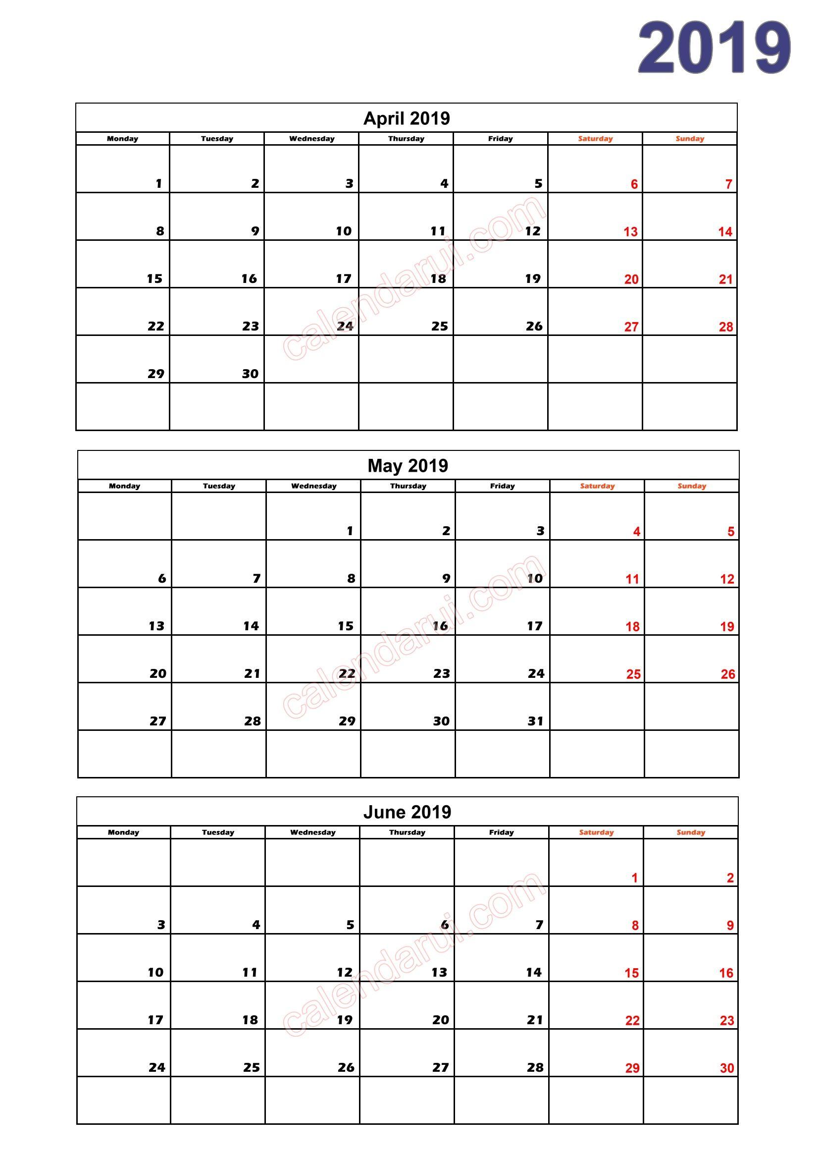 2 Quarter 2 Calendar 2019 Printable Download Free_2