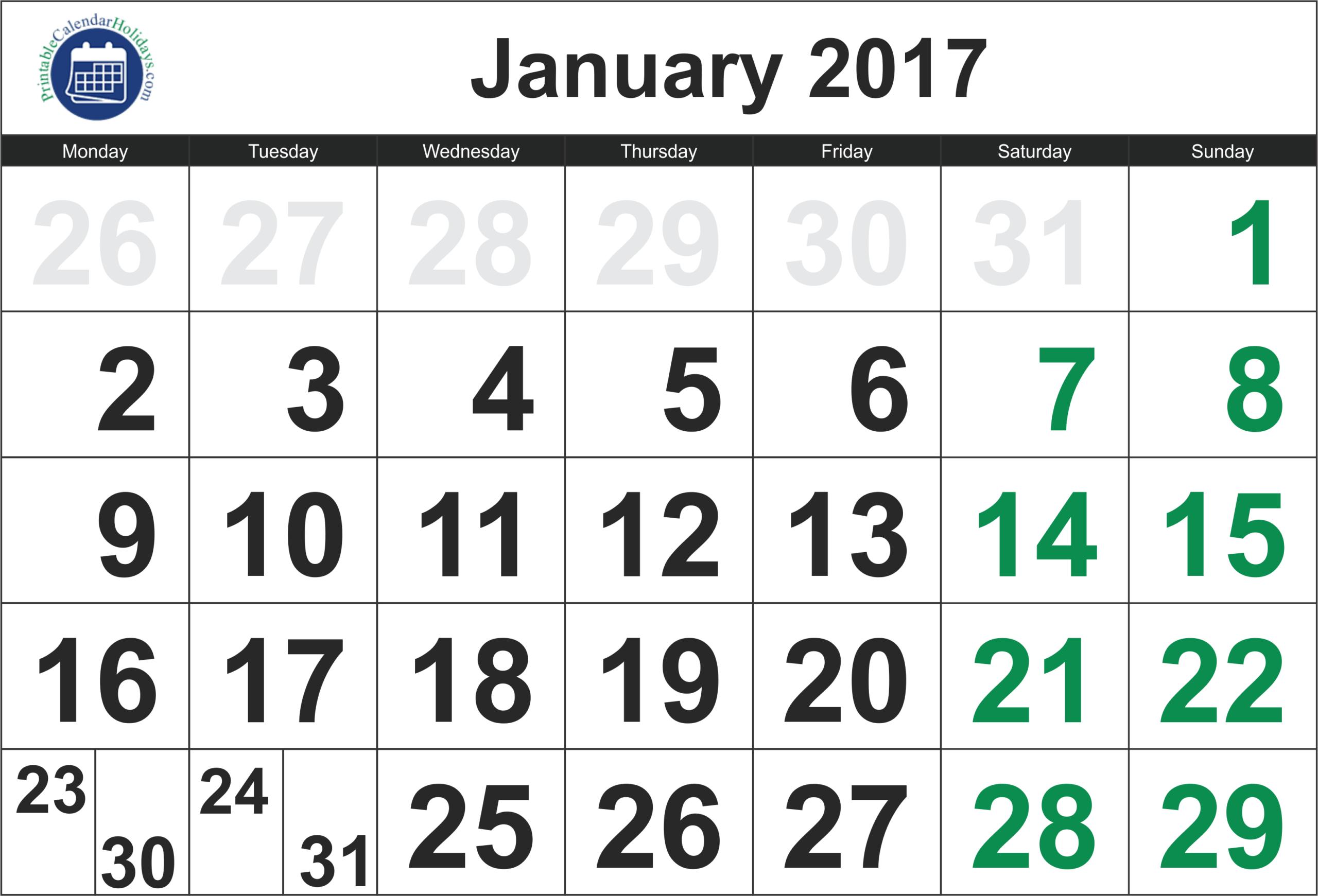 2017 January Calendar - Printable Calendar Template 2020 2021